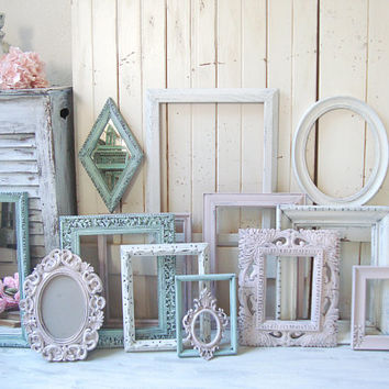 Pink and Mint Ornate Frames, Antique White Frames, Vintage Nursery Frames Oval Frames Kids Bedroom Frames Blush Pink Decor Baby Shower Gift