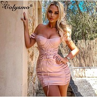 Colysmo Pink Party Dress Women 2019 New Summer Short Sleeve Square Collar Can Off Shoulder Bodyon Dress Sexy Elegant Club Dress