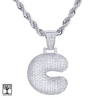 """Jewelry Kay style Custom Bubble Letter C Initial Silver Plated Iced CZ Pendant 24"""" Chain Necklace"""