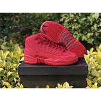 Air Jordan 12 Retro AJ 12 Red Men Women Basketball Shoes
