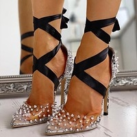New women's shoes sexy snake print rivet pointed toe strap stiletto high heel sandals