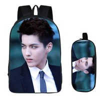 Cool Backpack school Kris Fashion 2PC Set with Pencil Case Student Backpacks Printing Cool Children SchoolBags For Boys Women Men Book Bag 2018 New AT_52_3