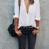 White Plain Single Breasted Peter Pan Collar Oversized Casual Blouse