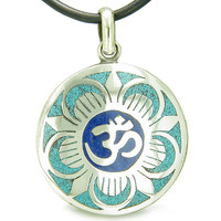 Amulet Ancient OM and Magic Lotus Tibetan Symbol Mosaic Medallion Pendant on Leather Cord Necklace