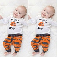 3 pcs a suit of unisex baby clothing baby Halloween Christmas Costume set baby pumpkin cute baby Clothing