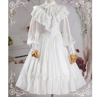Vintage Long Sheer Sleeve Casual Dress Lace Ruffled Illusion Neck Midi Gothic Party Dress