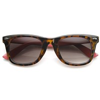 Retro Horned Rim Tortoise Pastel Two Tone Sunglasses 9166
