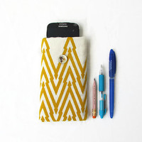 Fabric Iphone 6 cover, Hand printed fabric, yellow IPhone case, phone sleeve Samsung Galaxy s4 s5 s6, IPhone 6, HTC m8, handmade in the UK