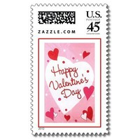 """""""Happy Valentines Day"""" Hearts Stamps from Zazzle.com"""