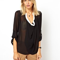 ASOS | ASOS Blouse with Drop Collar and Contrast Detail Front at ASOS