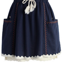 Cute Embroidery Lace Hem Skort in Navy Blue S/M