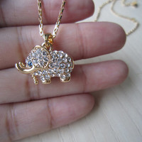 Rose gold necklace, platinum, gold, 3D,elephant clavicle chain, Lucky, senior crystal diamond studded, best gift  to friends, or yourself