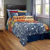 Travel and Explore Navy Full Size Kids Bed Skirt