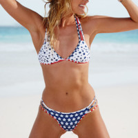 Retro Flag Print Hollow Bikini Set Swimsuit Swimwear