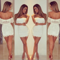 White Lace Off Shoulder Bodycon Dress