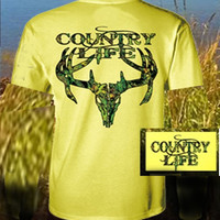 Country Life Outfitters Yellow Camo Realtree Deer Skull Head Hunt Vintage Unisex Bright T Shirt