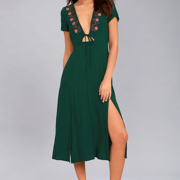 Into Versailles Forest Green Embroidered Midi Dress