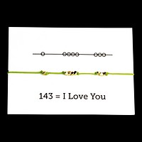 I Love You 143 Cord Bracelet - Avocado