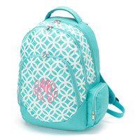 Monogrammed Geometric Aqua Sadie Backpack -kids-teens-back to school