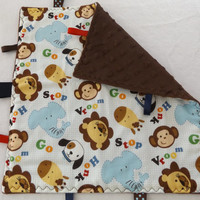 Jungle Animals and Minky Toddler Taggie Lovey, Pacifier Keeper, Teether, Taggy, Security Lovey, Diaper Bag Lovey, Baby Sensory Blanket