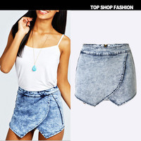 Summer Casual Jeans Sexy Criss Cross Back Handkerchief Shorts Trousers Pants _ 1097
