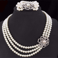 Pearl Necklace Set For Women 2015 Trendy Platinum Plated Party Necklace Bracelet Rhinestone White Pearl Jewelry Sets