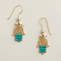 Gold and Turquoise Hamsa Drop Earrings