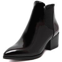 Black Stretch Side PU Pointed Chunky Ankle Boots