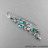 Long Boho Turquoise Christian Car Charm - Christian Car Accessories For Women - Religious Gift For New Driver - Angel Rear View Mirror Charm