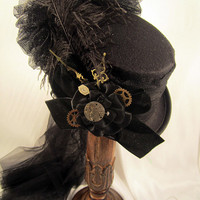Steampunk Black Riding Hat with Clock Hands and Clock parts Netting