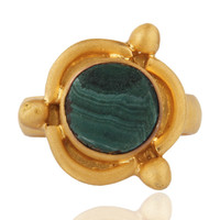 Handmade Natural Malachite Gemstone Solid 925 Sterling Silver Ring Sz 7 Jewelry