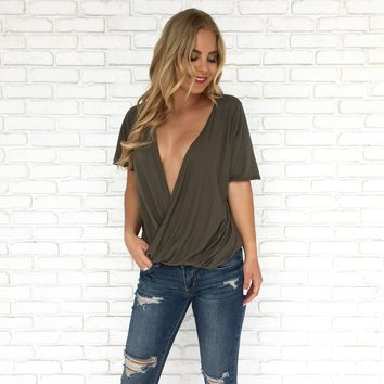Under Wraps Top in Olive