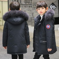 Boys Winter Jacket Children Duck Down Coat Kids Long Fur Parka Baby Boy Snowsuit Infant Overcoat Child Snow Wear Costumes