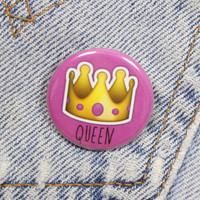 Queen Crown Emoji 1.25 Inch Pin Back Button Badge