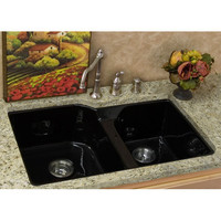 CorStone Industries 34094 Narragansett Acrylic Black Undermount Double Bowl Kitchen Sink (Clearance Priced)