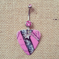 Pink mossy oak camo Guitar Pick Dangle Belly Button Ring with pink cz stone Silver Surgical Steel Naval Body Jewelry 14 gauge