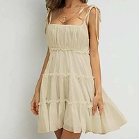 Missord Shirred Back Layered Hem Cami Dress