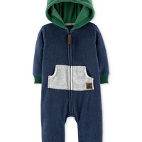 Carter's Baby Boys Hooded Colorblocked Fleece Coverall Kids - All Baby - Macy's