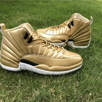 "Air Jordan 12 Pinnacle ""Gold"" Men Basketball Shoes US 8-13"