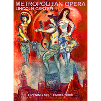 1966 Metropolitan Opera by Artist Marc Chagall Wood Sign