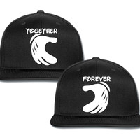 forever together mickey hands heart couple matching snapback cap