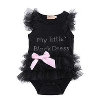 born Baby Girls Bodysuits Embroidered Lace My Little Black Dress Letter infant Baby Bodysuit