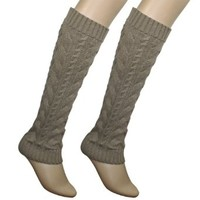 Dahlia Women's Cable Knit Leg Warmers - Khaki