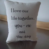 Cotton anniversary gift pillow wife love quote cushion
