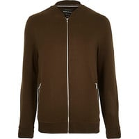 River Island MensGreen zip through bomber jacket