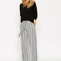 ASOS Wide Leg Trouser with D-ring in Stripe at asos.com