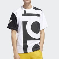 Adidas Summer Fashion Men Casual Stitching Color Round Collar Short Sleeve T-Shirt Top Black