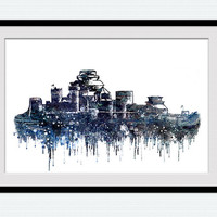 Game of Thrones poster Winterfell castle print Winterfell castle poster Game of Thrones watercolor art Home decoration Kids room decor W561