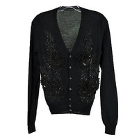 DSQUARED2 Black Floral Beaded Front Wool Cardigan Sweater Size XS S