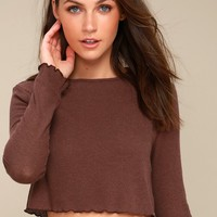 Luna Lee Washed Plum Purple Long Sleeve Crop Top